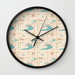 Mid Century Boomerangs in textured Blush Pink and Blue Wall Clock