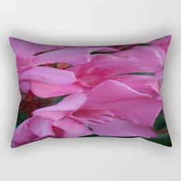 Closeup Shot of Pink Flowers on Oleander Shrub Rectangular Pillow