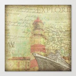 Vintage Nautical Map Lighthouse Canvas Print