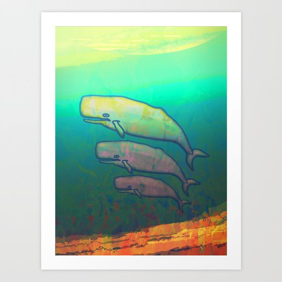 Whales Swimming Together Art Print