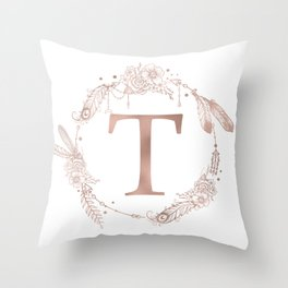Letter T Rose Gold Pink Initial Monogram Throw Pillow