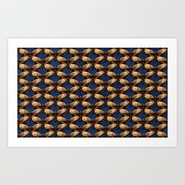 Moth Pattern On Dark Blue Art Print