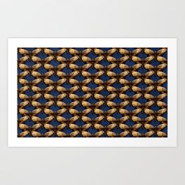 Moth Pattern On Dark Blue Art Print