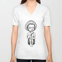 sleeping beauty V-neck T-shirts featuring Sleeping beauty by ValD