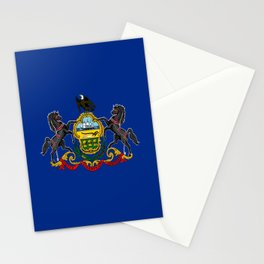flag pennsylvania,america,us,pennsylvanian,keystone, quaker,appalach,philadelphia,pittsburgh,erie Stationery Cards