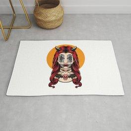 Devil Girl With Clown Face Vector Rug