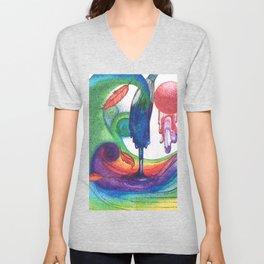 an ocean of color (pointillism) Unisex V-Neck