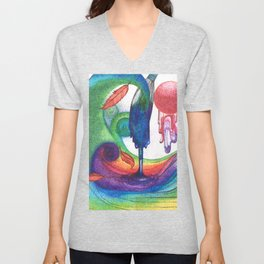 an ocean of color (pointillism) Unisex V-Neck