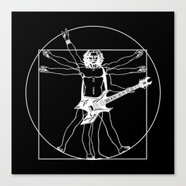 Vitruvian guitarist playing B.C. Warlock guitar. (White sketch) Canvas Print