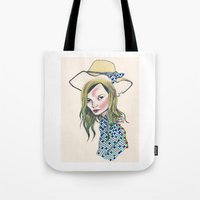 kate moss Tote Bags featuring Kate Moss by Sindecualo