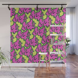 Stay Graffiti Pattern - Pop Pink Wall Mural