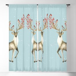 Deers With Birds #society6 #buyart Blackout Curtain