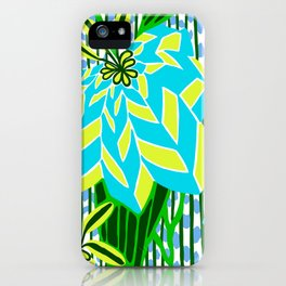 BAYAMO: BLUE GREEN DREAM, Art Deco Tropical iPhone Case