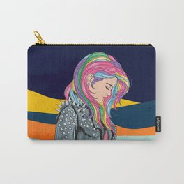 Girl unicorn full colour hair with rocker jacket punker style Carry-All Pouch