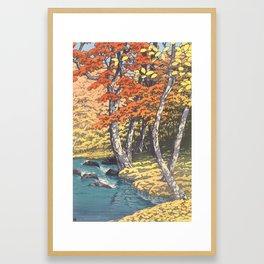 Japanese Woodblock -  Autumn in Oirase by Kawase Hasui, 1933 Framed Art Print