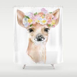 Deer Fawn Floral Watercolor Shower Curtain
