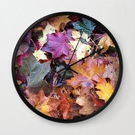 Fallen Fall Leaves Wall Clock