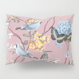 BIRDS, BLOSSOMS & BUTTERFLIES BLUSH Pillow Sham