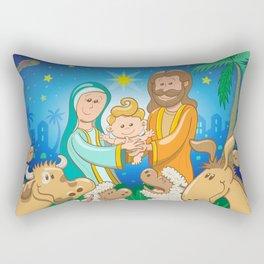 Sweet scene of the nativity of baby Jesus Rectangular Pillow
