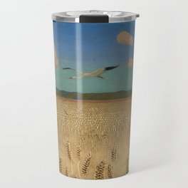 'Fields of Gold' landscape painting by Agnes Slott-Møller Travel Mug