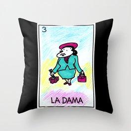 Loteria Ape #3: La Dama Throw Pillow