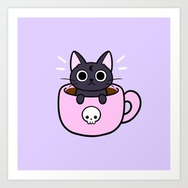 Pastel Coffee Cat Art Print