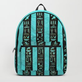 Golden  Egyptian hieroglyphs on frosted glass Backpack