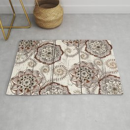 Coffee & Cocoa - brown & cream floral doodles on wood Rug