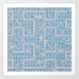 Blue Needlepoint Maze Art Print