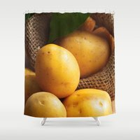 potato Shower Curtains featuring potato sack by Tanja Riedel