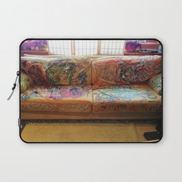 """""""Famous Late Night Painted Sofa"""" - nice, very old Italian Leather Sofa I painted. Laptop Sleeve"""