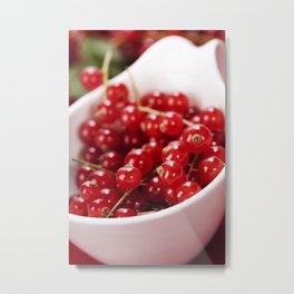ripe red currant berries close up shot Metal Print