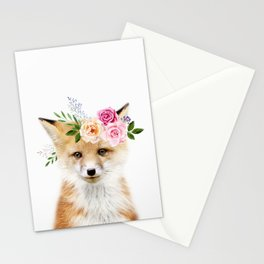 Baby Fox with Flower Crown Stationery Cards
