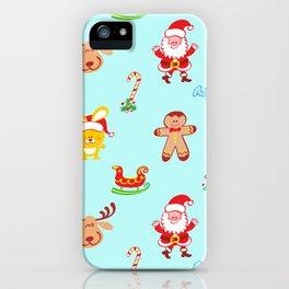 Cute Santa Claus, reindeer, bunny and cookie man Christmas pattern iPhone Case