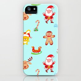 Cute Santa Claus, reindeer, bunny and cookie man Christmas pattern iPhone Case