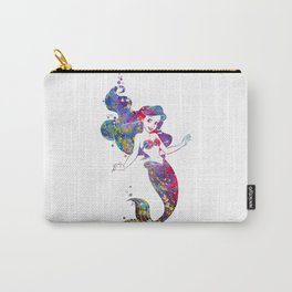 Little Mermaid Watercolor Carry-All Pouch