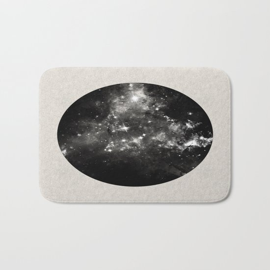 God's Window - Black And White Space Painting Bath Mat