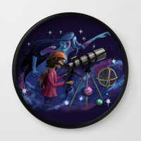 astronomy Wall Clocks featuring Muse of Astronomy by Jessica Chrysler