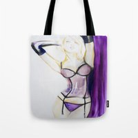 burlesque Tote Bags featuring Burlesque  by Sarah