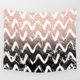 Modern faux rose gold glitter black marble chevron Wall Tapestry