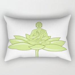Buddha Sitting on Lotus Flower Drawing Rectangular Pillow