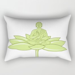 Buddha Sitting on Lotus Flower Drawing Rectangular Pillow