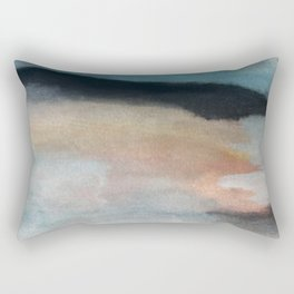Dawn: a minimal abstract acrylic piece in pink, blues, yellow, and white Rectangular Pillow