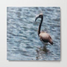 Flamingo Fledgling Watercolor Metal Print