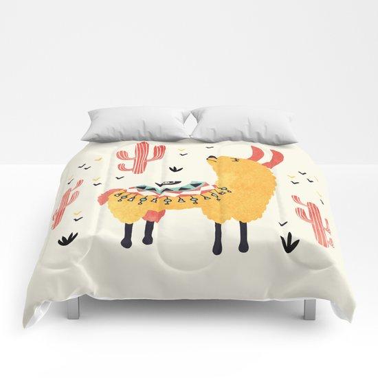 Yellow Llama Red Cacti by lidiebug