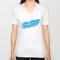 surf V-neck T-shirts featuring SURF by Some Kid Chris