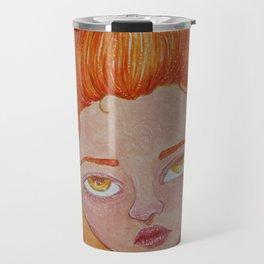 Element Series - Fire Spirit, Orange Red Flame Hair, Cute Creepy Illustration Travel Mug