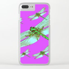 PANTENE ULTRA VIOLET PURPLE EMERALD DRAGONFLIES ART Clear iPhone Case