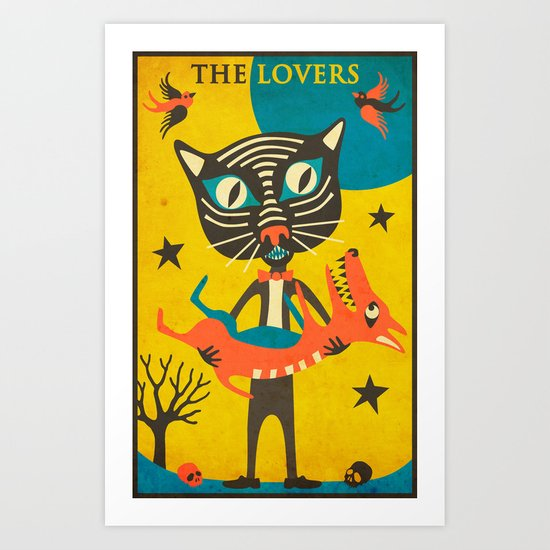 Tarot Card Cat: The Lovers Art Print
