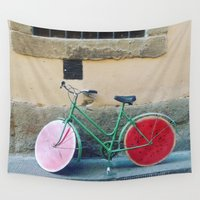 florence Wall Tapestries featuring Watermelon Bicycle in Florence by FranArt